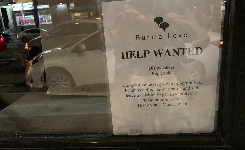 Burma Love needs cooks and dishwashers