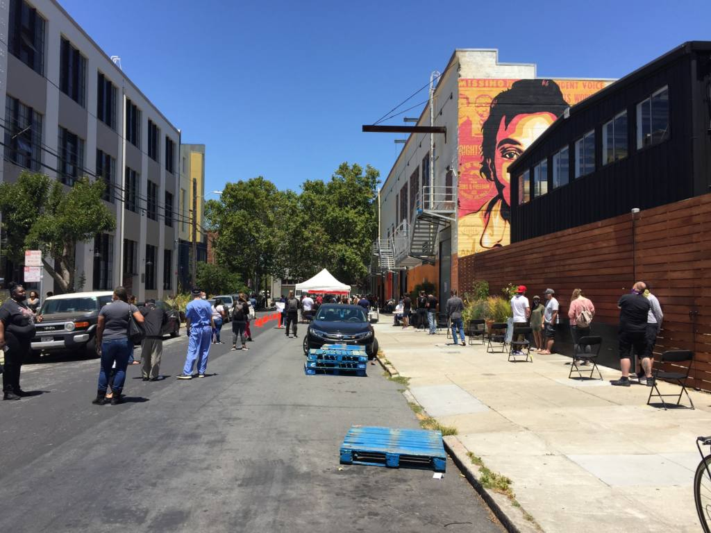 Residents line up to be tested at new Mission District COVID-19 mobile testing site - Mission Local