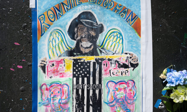 Friends and family gather to remember Ronnie Goodman, homeless artist and runner