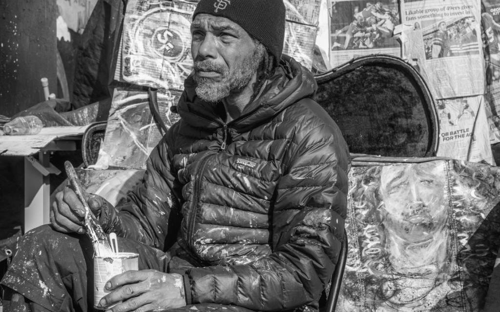 Memorial service for homeless artist Ronnie Goodman at Capp and 16th Streets