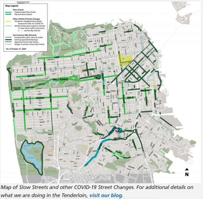 Slow Streets map