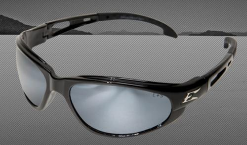 Edge Eyewear Dakura Safety Glasses - Gloss Black Nylon Frame/Non-Polarized Silver Mirror Lens