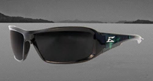 Edge Eyewear Brazeau Designer Safety Glasses - Gloss Black Green Nylon Frame/Polarized Smoke Lens