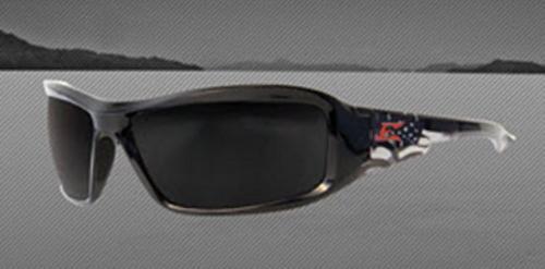 Edge Eyewear Brazeau Designer Safety Glasses - Gloss Black Patriot Nylon Frame/Polarized Smoke Lens