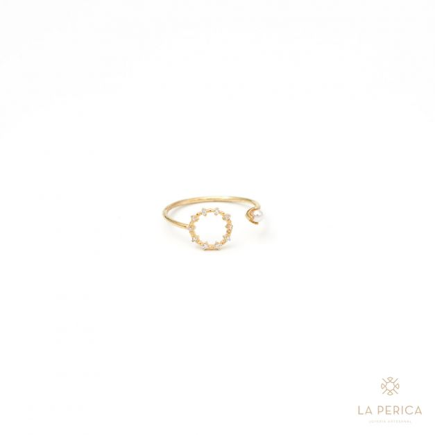 Anillo Perlita y Circulo puntos luz (plata enchapada en oro)