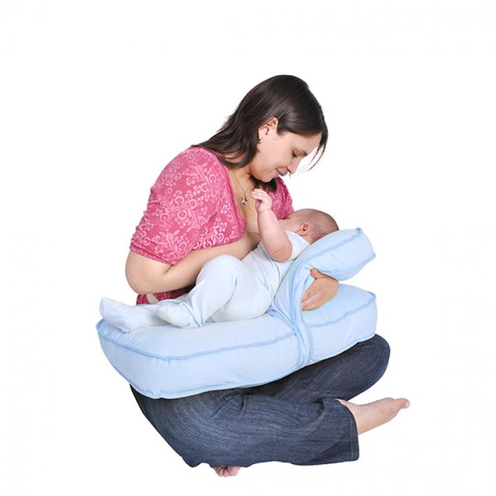 MATERNELLE - Doble almohada de lactancia Celeste.