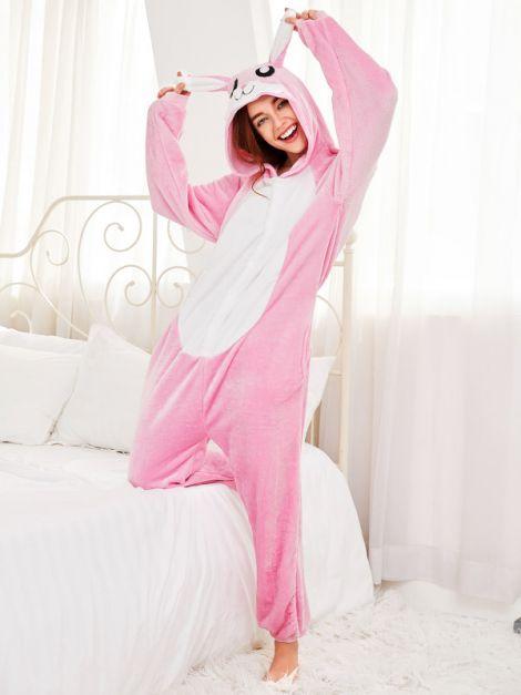 Pijama de conejo rosado