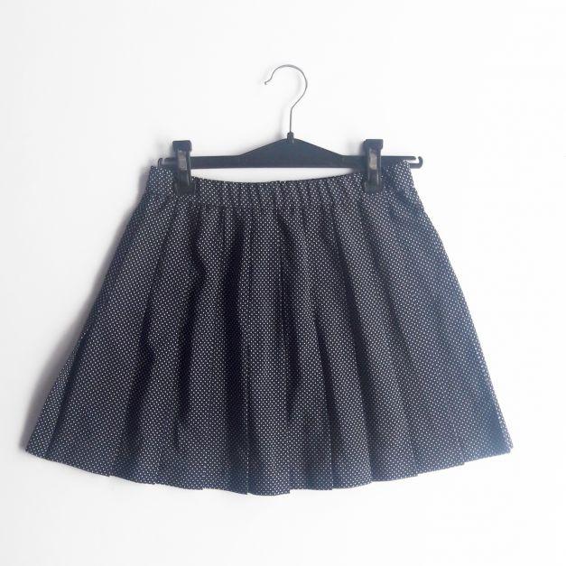 Falda de pliegues azul con lunares blancos (#33THRIFTSHOP)