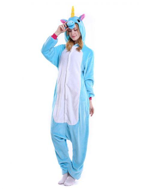 Pijama plush de unicornio celeste Unisex