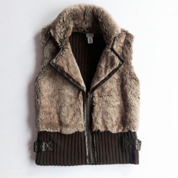 Chaleco de peluche marrón con cierre y espalda de lana (#33THRIFTSHOP)
