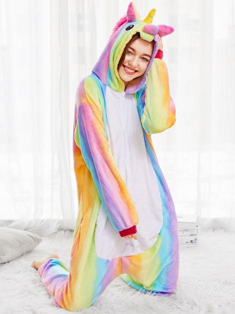 Pijama de unicornio plush Arcoiris Unisex
