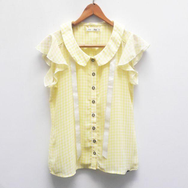 Blusa de gasa, de cuadraditos blanco con amarillo