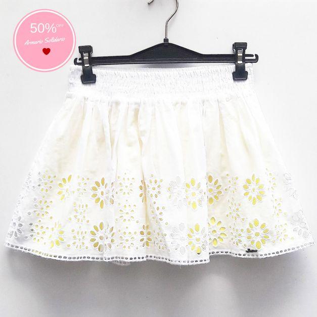 Falda blanca con forro amarillo