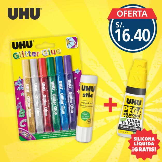 UHU glitter y stic + Silicona GRATIS