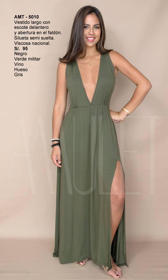Vestido largo verde con negro
