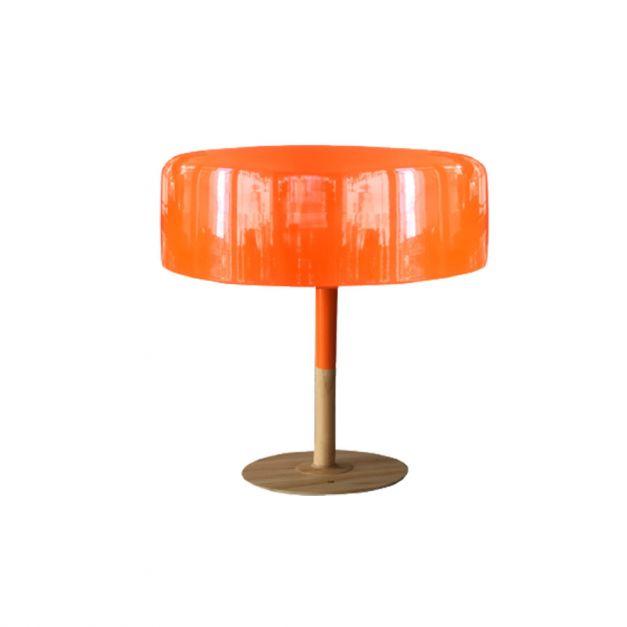 Lámpara Metal Madera Naranja