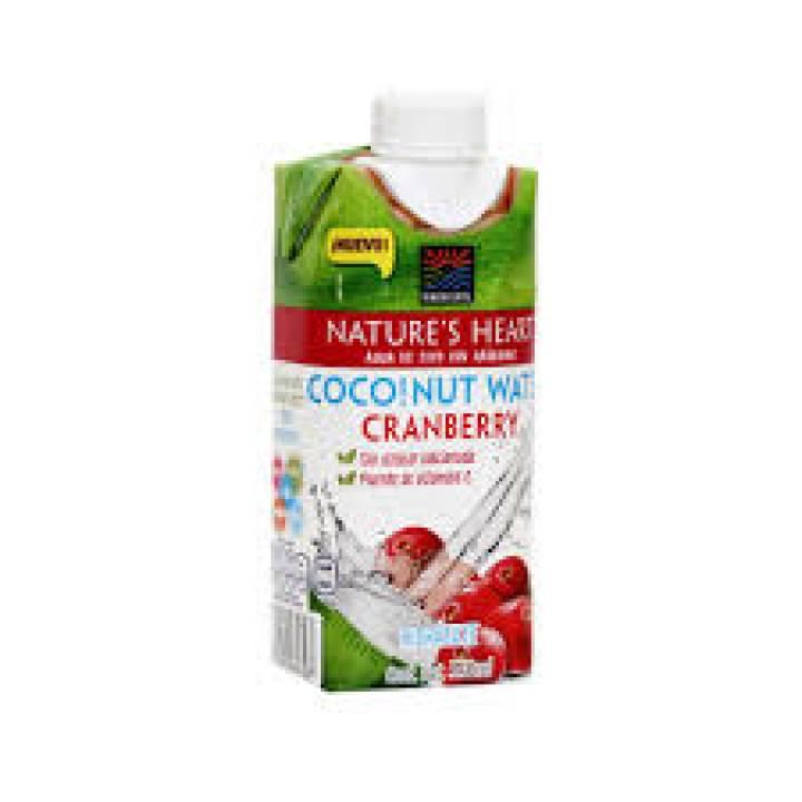 AGUA DE COCO CON CRANBERRY  330ML NATURES HEART