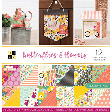 DCWV Colección Butterflies and flowers - Block con foil - 30x30