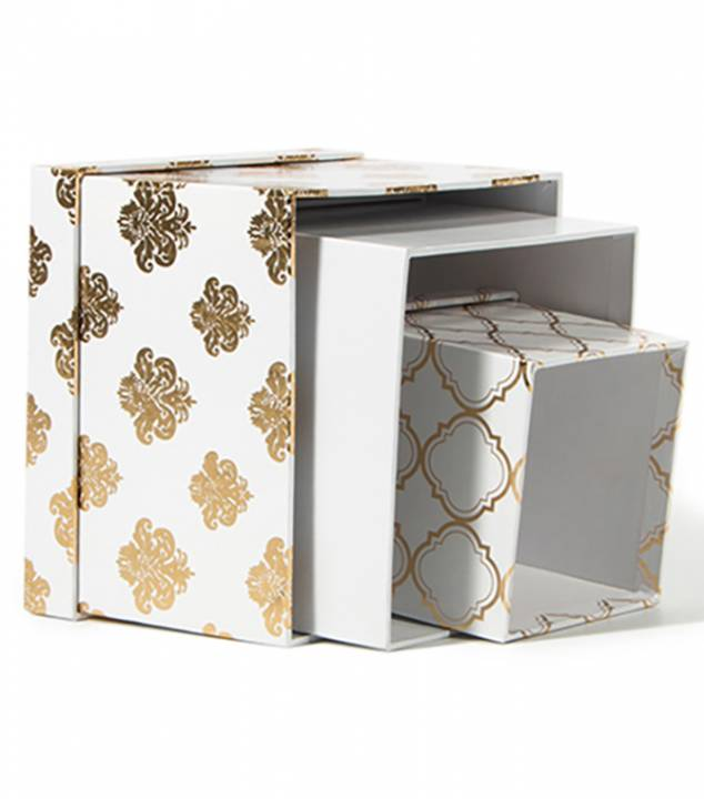 DCWV - Gold cream square nested box x3