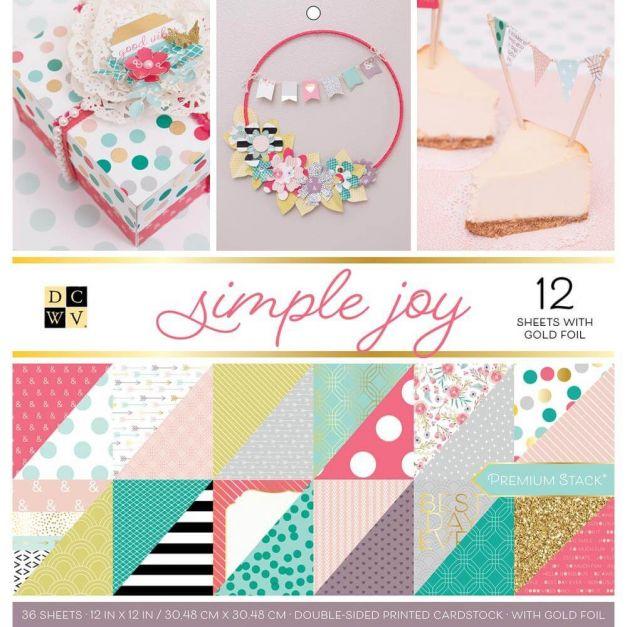 DCWV Colección Simple Joy - Block con foil - 30x30