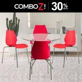 1 Mesa Rauny DA90 1LY + 4 Sillas Kore Rojo