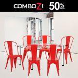 1 Mesa Lissa RB1475 4LO + 6 Sillas Vintage Rojo
