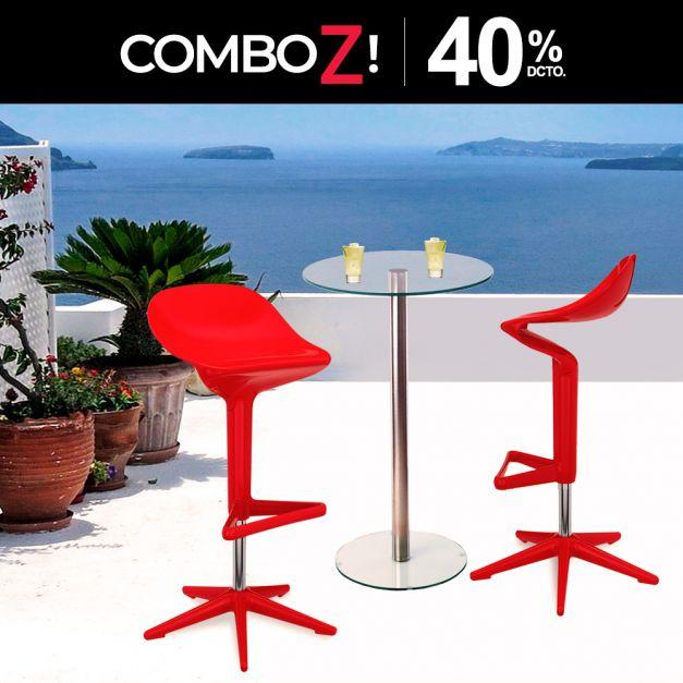 1 Mesa Simplex DA60 1LY /100 + 2 Bancos Parcero Rojo