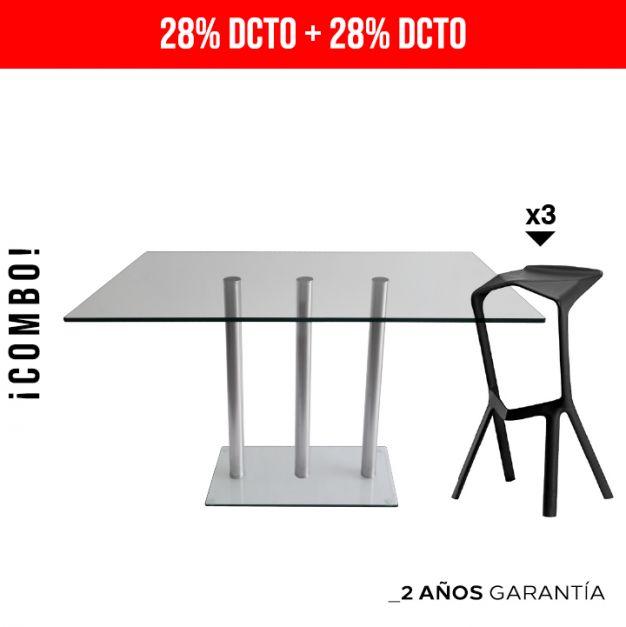 1 Mesa Simplex Barra RB1845 /100 3LY + 3 Bancos Trazzo