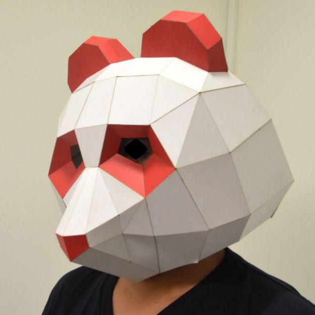 Máscara Oso Panda Rojo y Blanco