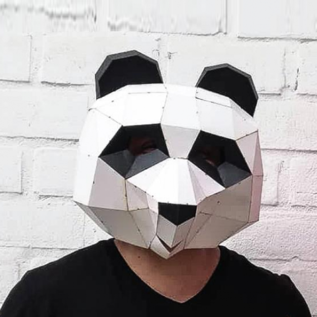 Máscara Oso Panda Blanco y Negro