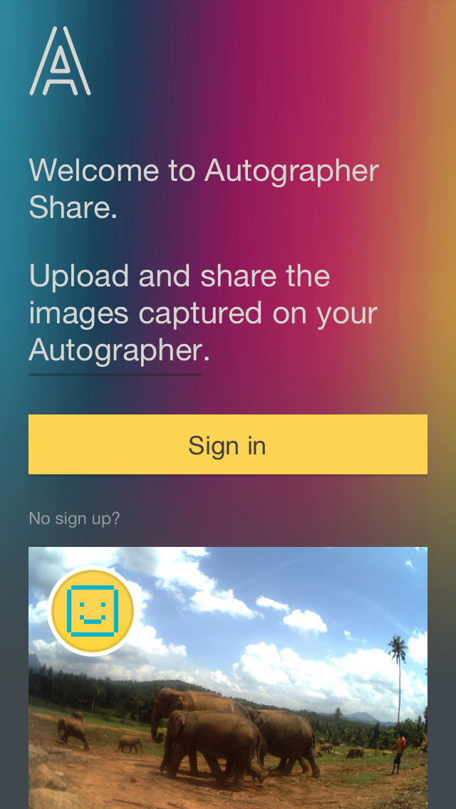 Autographer - Homepage, mobile