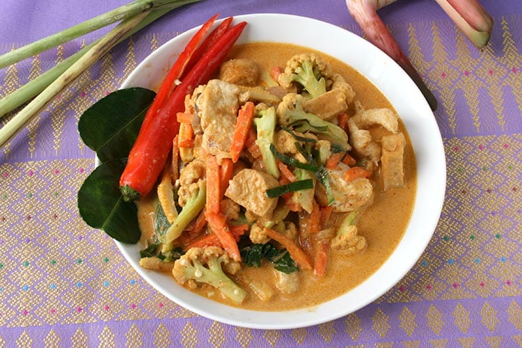 Penang curry with main ingredients.