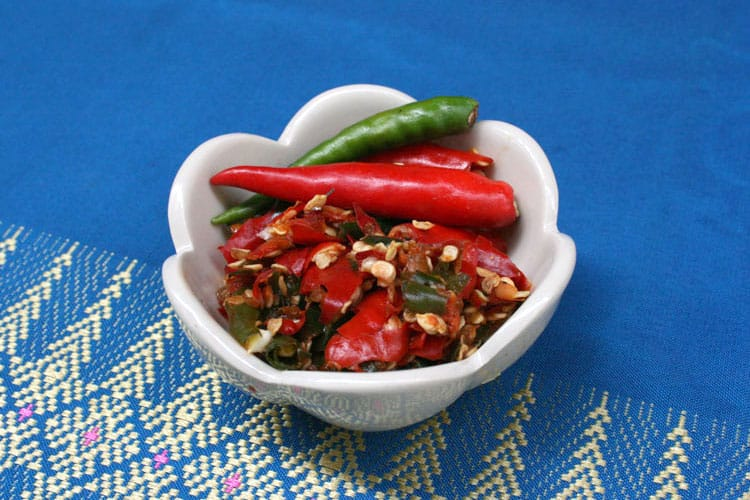 Bowl of raw chilis for making chili paste.