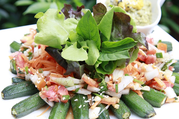 Raw food salad with okra.