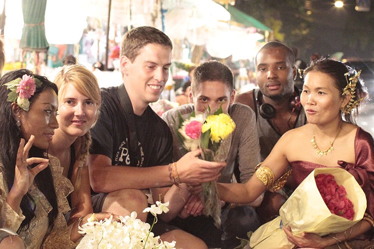 Group of students at the night flower market.