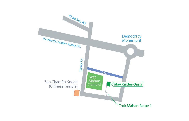 Bangkok Map with Bangkok Oasis Location Highlighted
