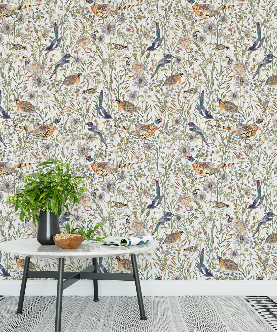 Woodland Birds Lively Botanical Wallpaper Milton King