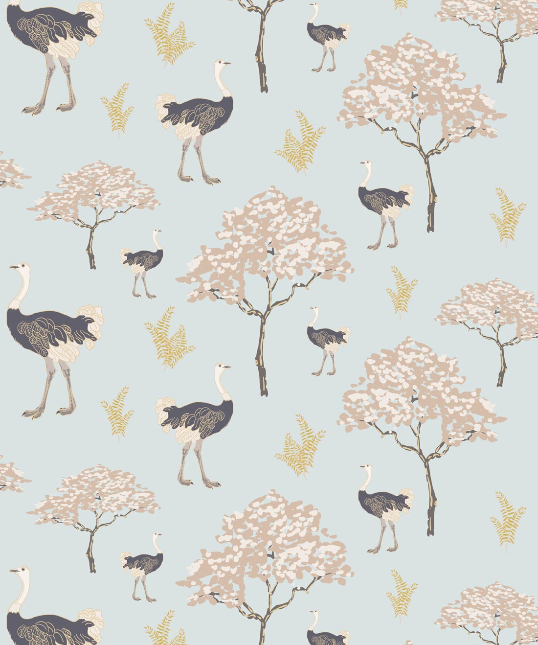Savanna Ostrich Wallpaper