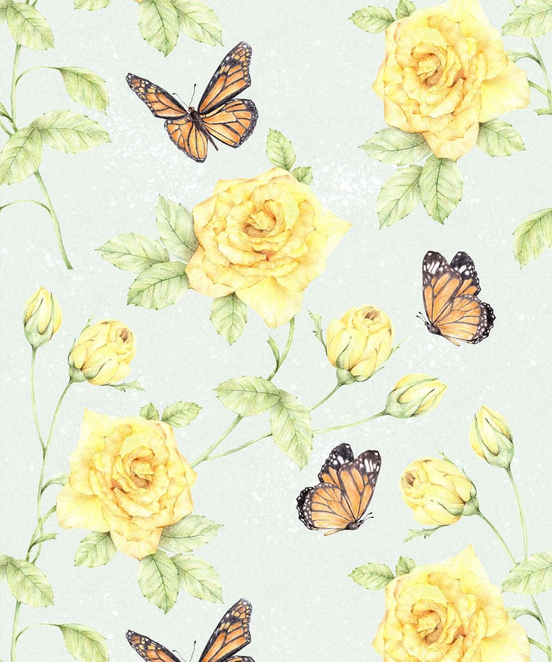 Roses & Butterflies Wallpaper