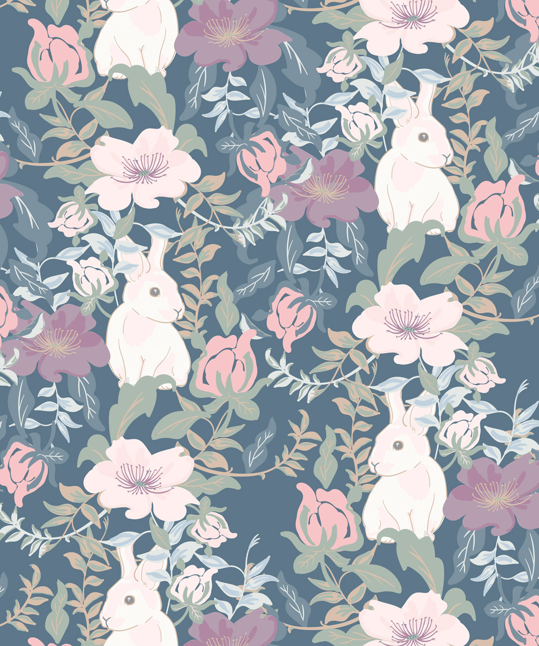 Garden Bunny Gorgeous Childrens Wallpaper Milton King