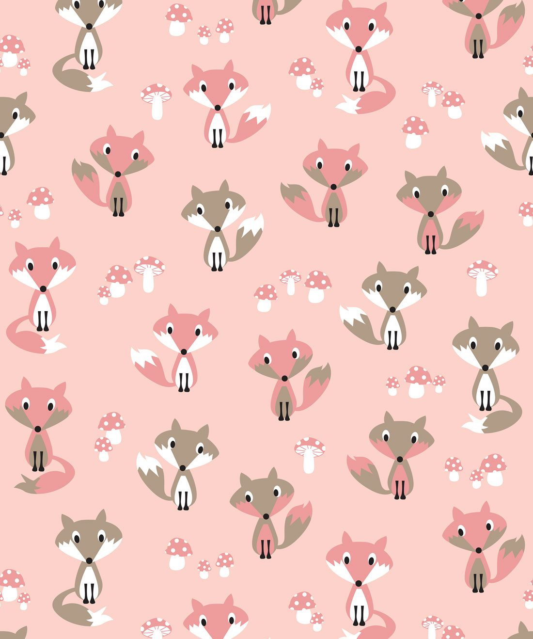 Garden Foxes Pink Wallpaper