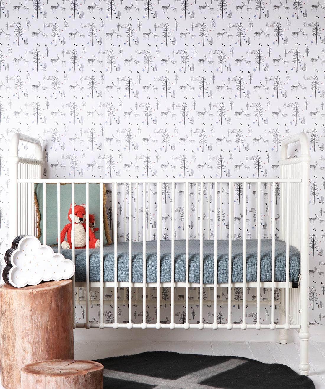 . Sleeping in the Woods Wallpaper  Gender Neutral Nursery   Milton   King