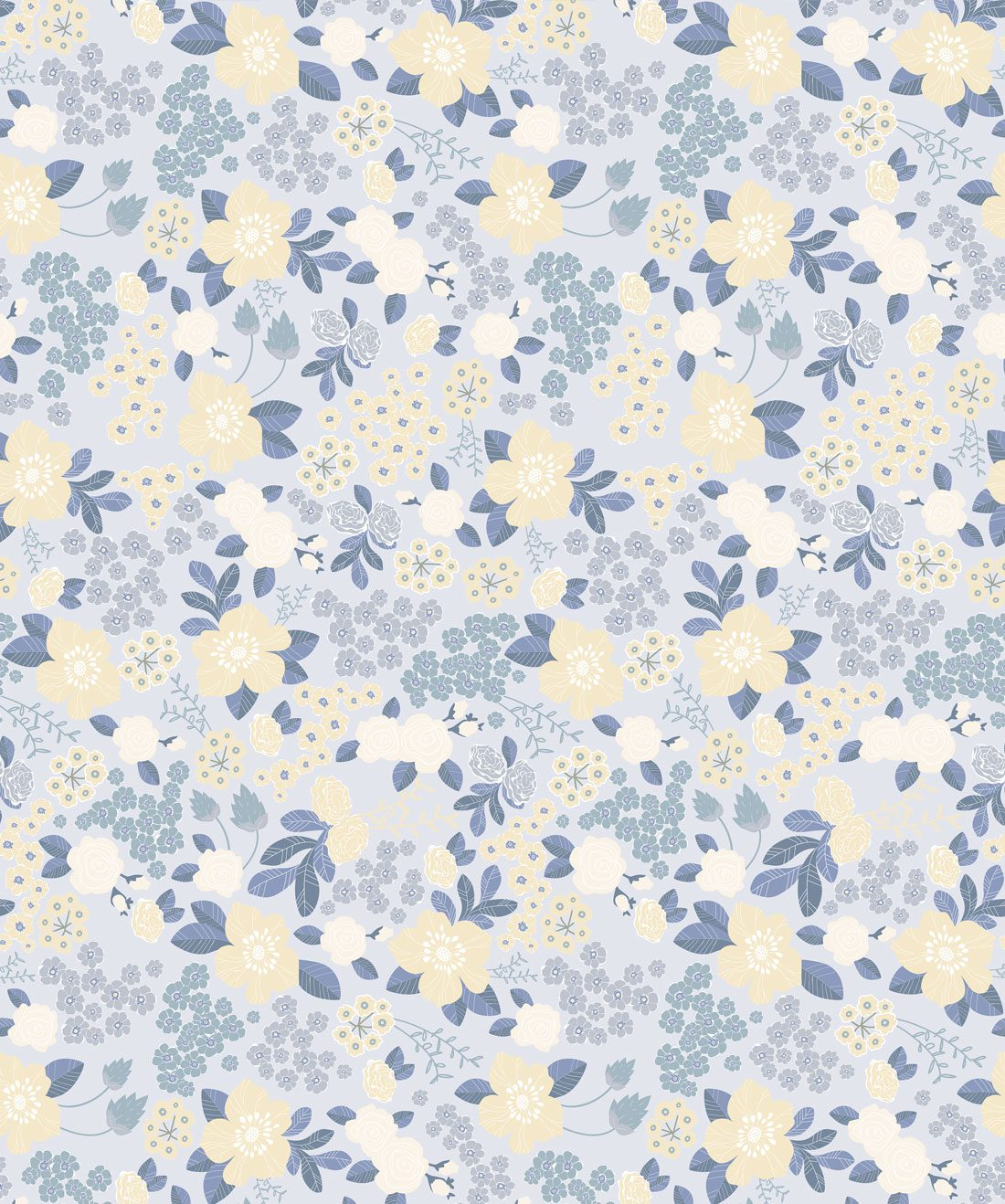 Flower Garden - Blue Wallpaper