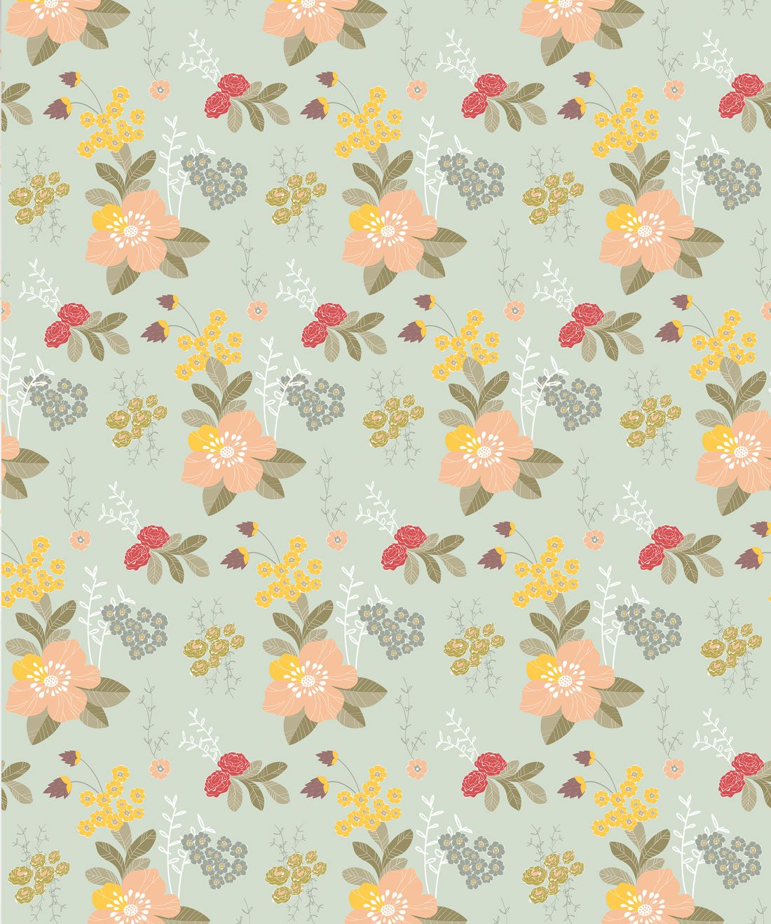 Flower Garden Vintage Inspired Floral Wallpaper Milton King