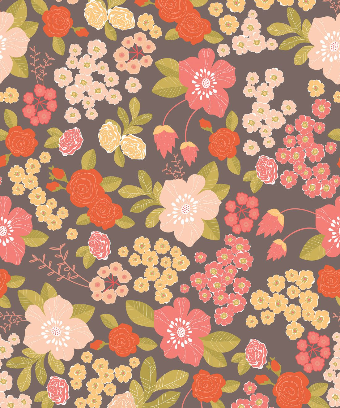 Stormy Bouquet Playful Floral Wallpaper Milton King