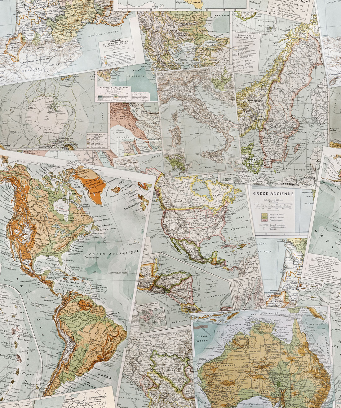 Vintage French Maps Wallpaper