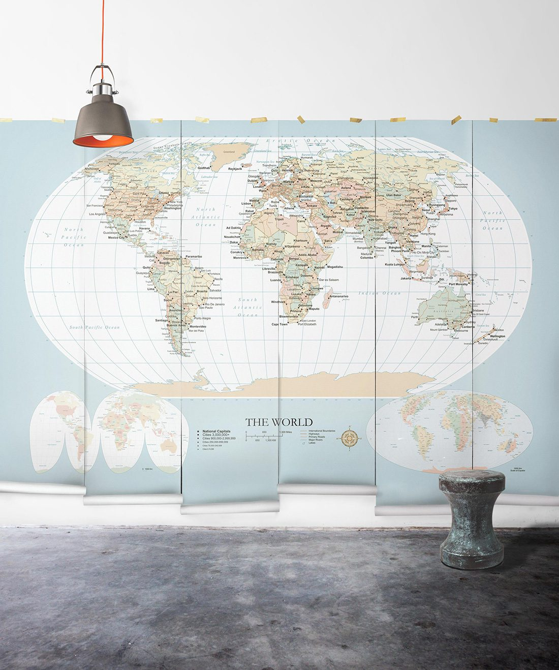 World Map Mural Vintage