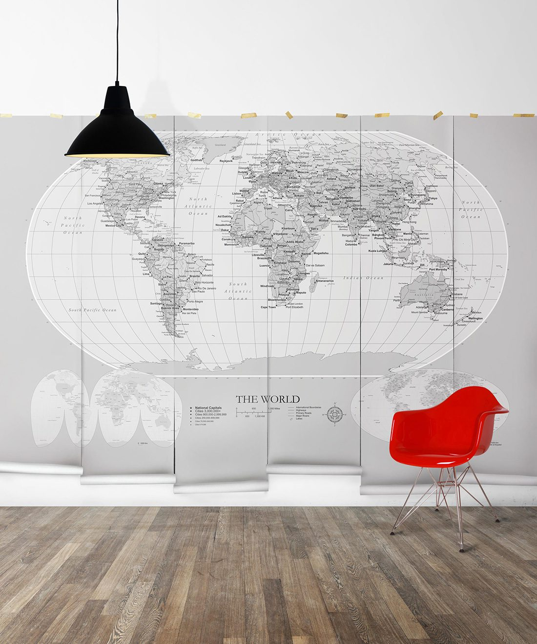 world map mural wallpaper, m\u0026m murals milton \u0026 kingworld map mural grey