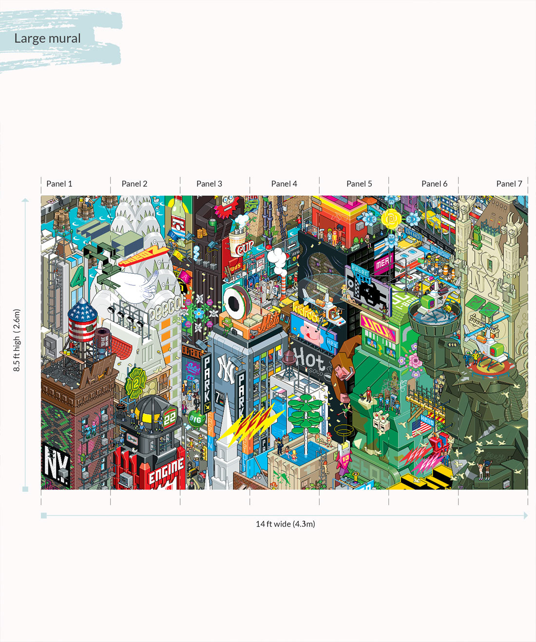 New York 8bit Pixel Our Most Popular Graphic Mural