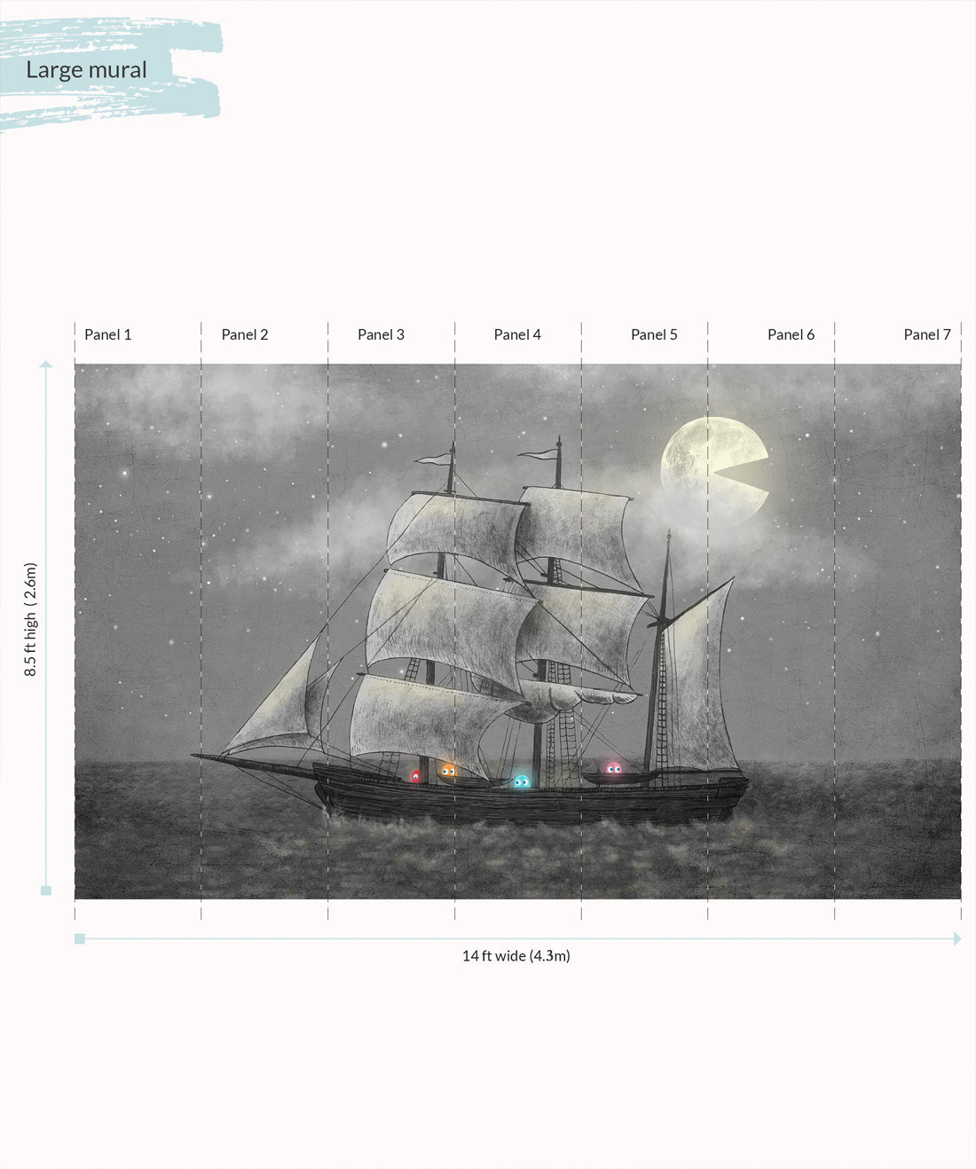 Ghost Ship Wall Mural - Large